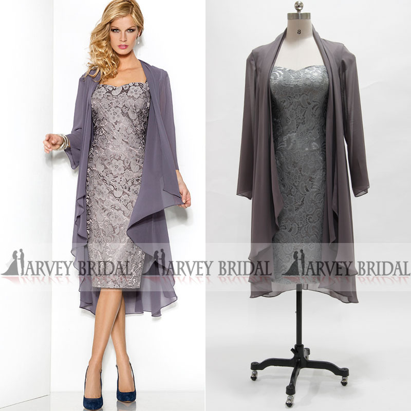 Silver Plus Size Mother Of The Bride Lace Dresses With Jacket Short