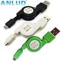 Portable elástico retráctil de carga de datos micro usb sync cable de carga micro USB A a USB 2.0 B para Android Teléfono Móvil 2 unids