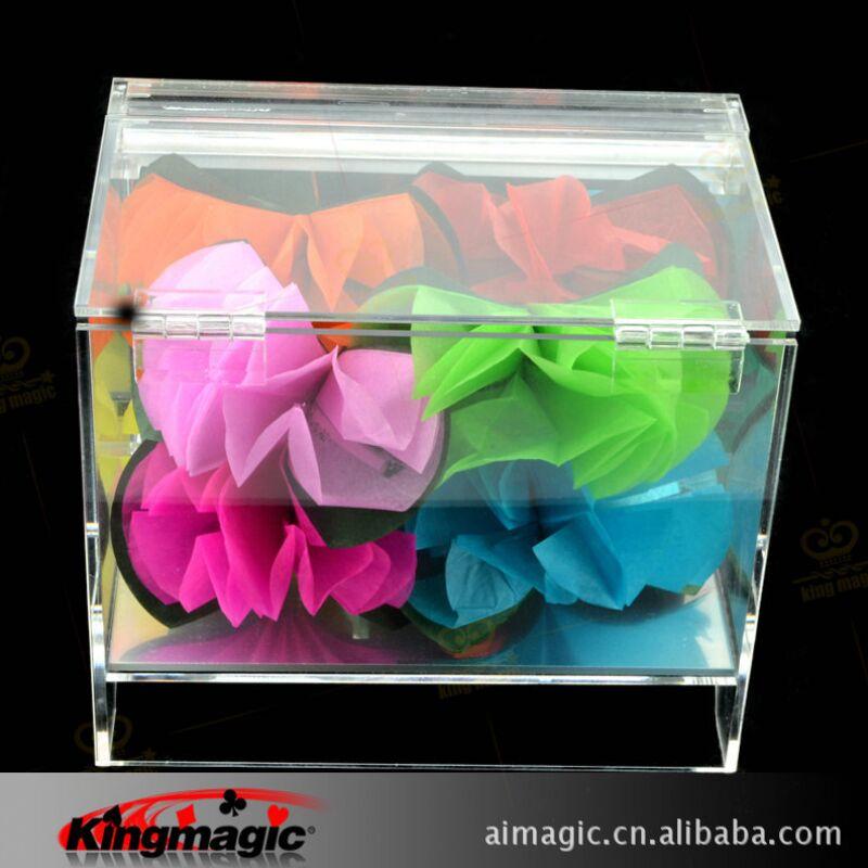 Livraison gratuite boîte de cristal apparaissant fleur scène fleur accessoires magiques tours de magie jouets drôles - 3