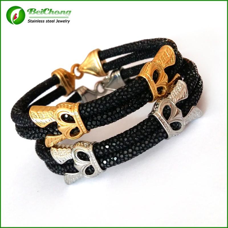 -10pcs-Fashion-Men-Leather-Jewelry-5mm-Width-Black-Leather-Stingray-Silver-Hook-Buckle-Bracelet-Bangle