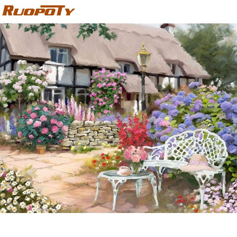 RUOPOTY Rahmen Haus Blume DIY Malerei Durch Nummer Acrylfarbe durch ...