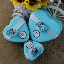 10pcs/lot Creative Square, Round Wedding Party Candy Box Favor Gift Boxes Skyblue Iron Small