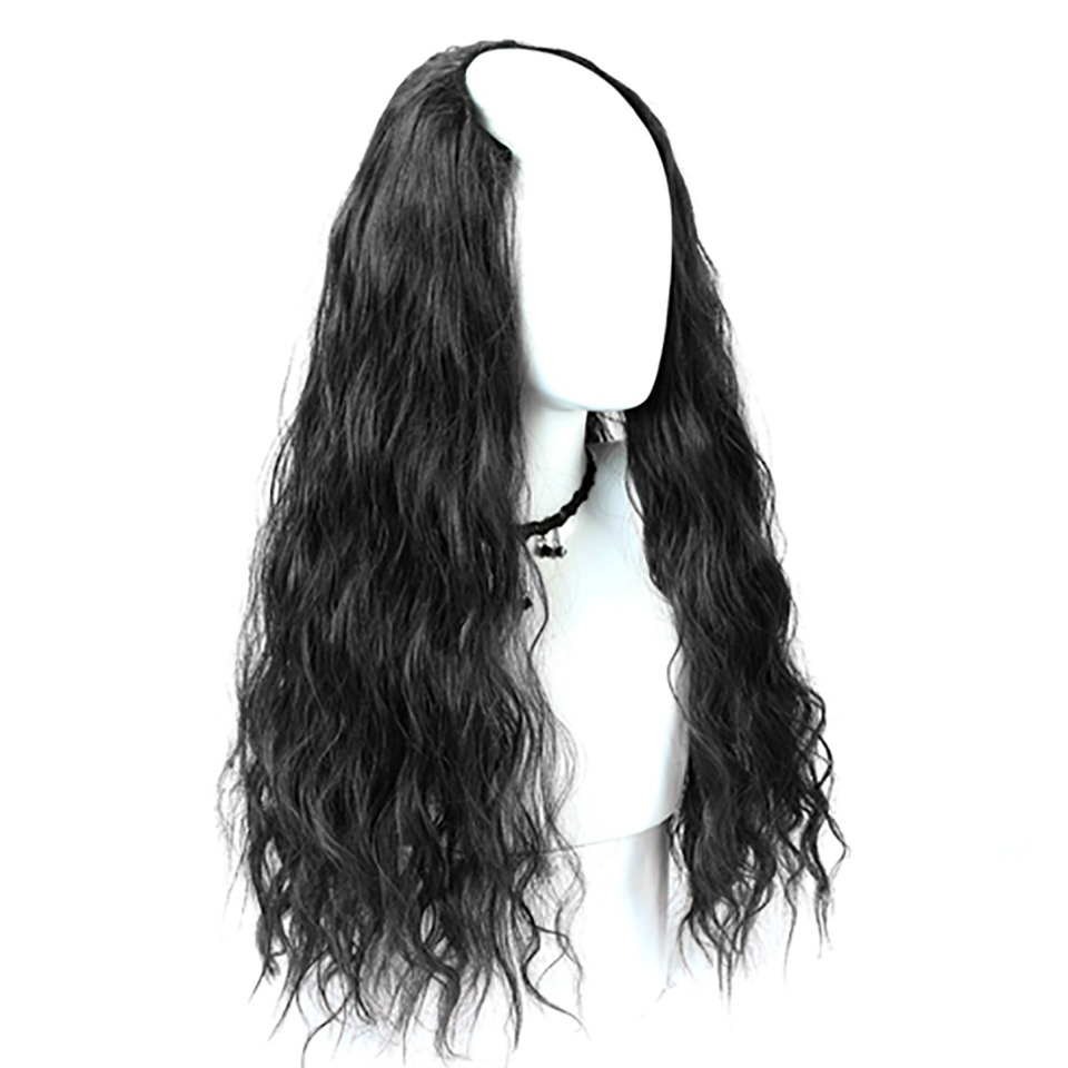 Allaosify Half Wig 3 Colors Long Curly For Female Party Halloween Synthetic High Temperature Fiber Cosplay Wig