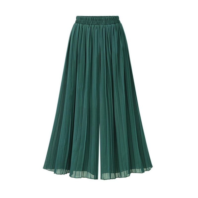 2019 Summer New Oversized Chiffon   Wide     Leg     Pants   Women Casual Loose Green Thin Fashion Trousers Women Pantalon Ou Code XL To 5XL