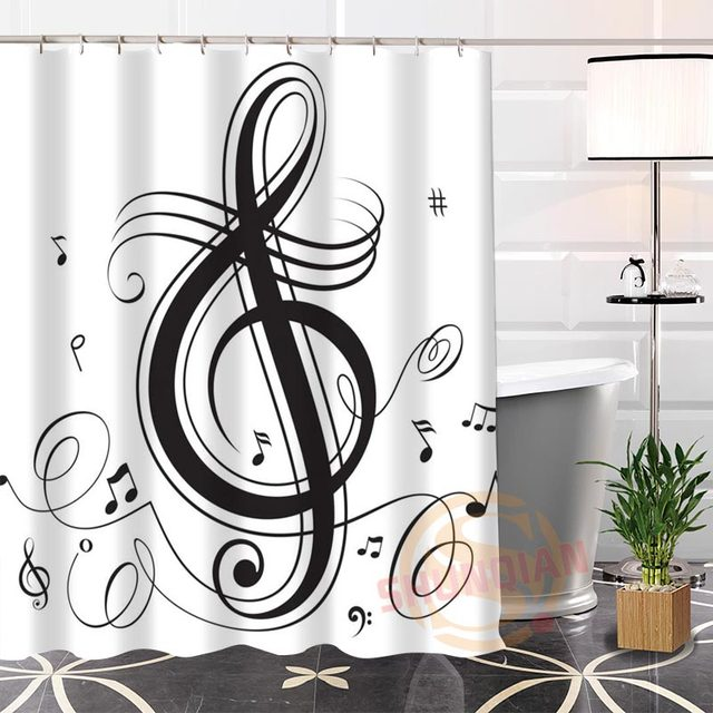 100 Polyester Custom Musical Note Shower Curtain Fabric Modern Bathroom With Hooks New Arrival