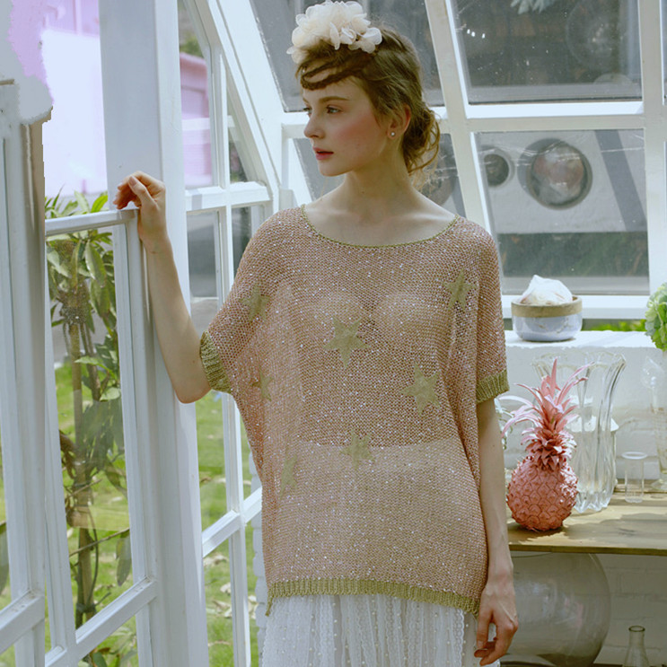 LYNETTE S CHINOISERIE Spilliness clinched blingbling gold thread cutout loose font b sweater b font