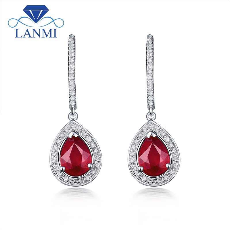 New Pear 6x8mm Natural Ruby Earrings 14k White Gold Diamond Drop Earring For In From Jewelry Accessories On Aliexpress