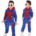 Primavera Niño Niños Ropa Conjuntos Con Capucha de Algodón de Dibujos Animados Bebé Trajes De Disfraces para Niños Spider Man Niños Ropa Chándal