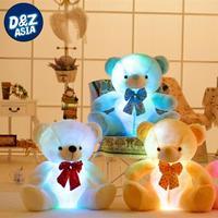 New luminous bowtie Teddy bear, luminous music bears plush toys, creative birthday gifts