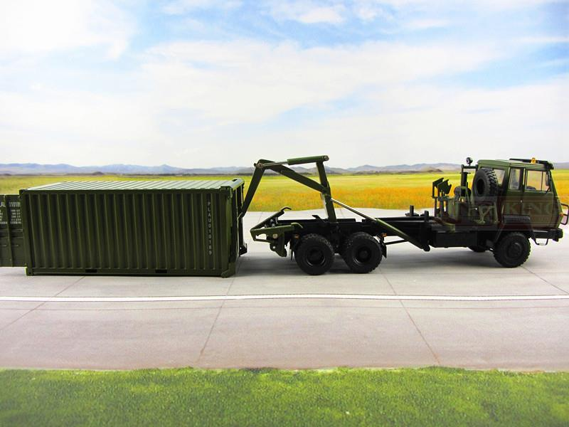 1:43 échelle Steyr camions Porte-conteneurs pour armée Chinoise Militaire Shan Xi Automobile PLA Conteneurs lourds camion