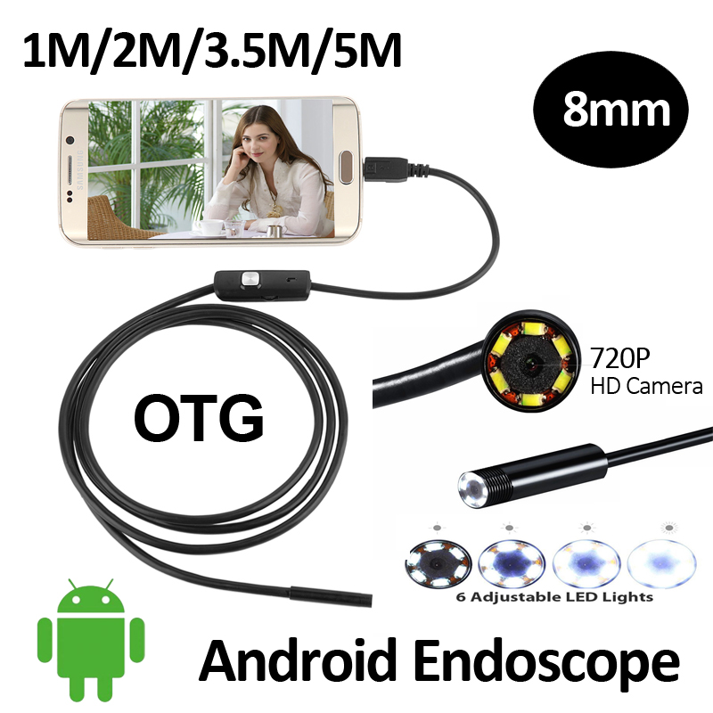 HD720P 2MP 8mm Android USB Endoscope Camera 6LED Snake Flexible USB  Endoscope 1M 2M 3.5M 5M Android OTG USB Borescope Camera 7mm lens mini usb android endoscope camera waterproof snake tube 2m inspection micro usb borescope android phone endoskop camera