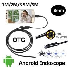 HD720P 2-МЕГАПИКСЕЛЬНАЯ 8 мм Android USB Камера-Эндоскоп 6LED Змея Гибкая USB Эндоскопа 1 М 2 М 3.5 М 5 М Android OTG USB Бороскоп камера