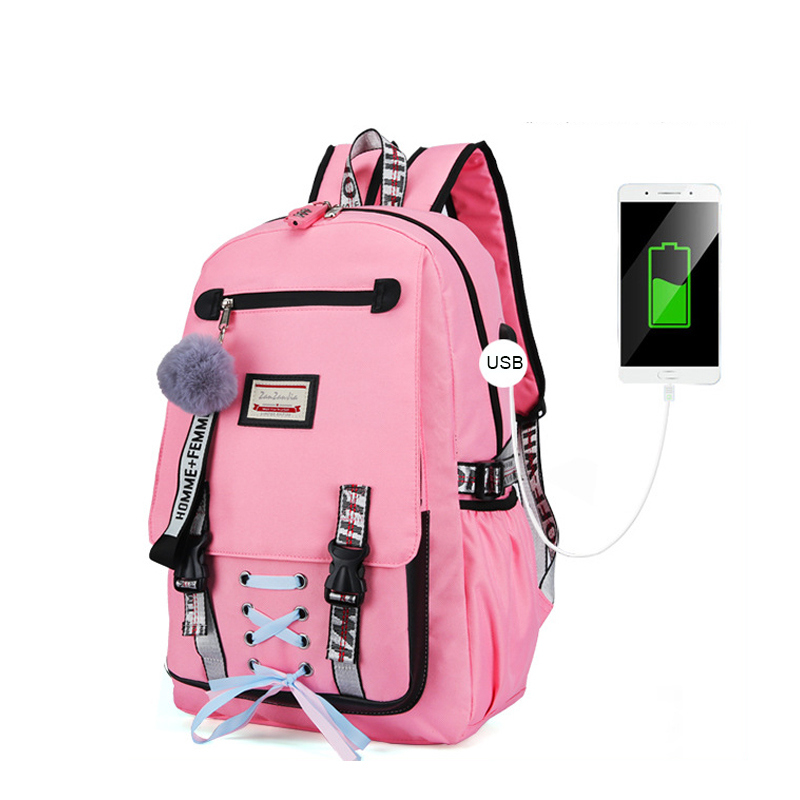 HTB1RK3db8Kw3KVjSZTEq6AuRpXaQ Pink Canvas Backpack Women School Bags for Teenage Girls Preppy Style Large Capacity USB Back Pack Rucksack Youth Bagpack 2019