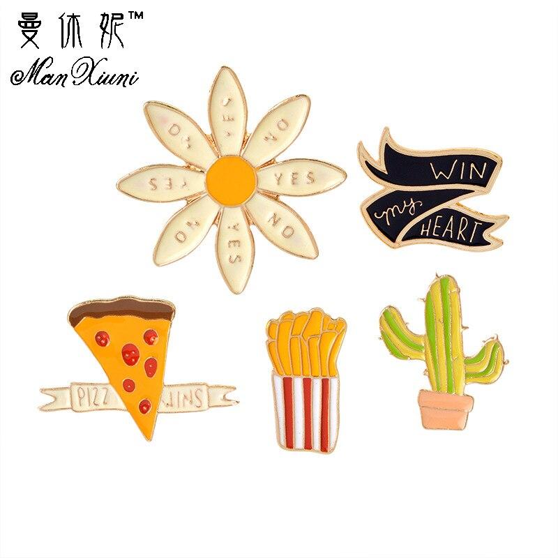 Manxiuni 4pcsset Cactus pizza fries chrysanthemum Metal Brooch Pins Button Pins Brooch Denim Jacket Pin Badge Funny Gift