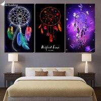 HD in 3 piece canvas art Dreamcatcher giấc mơ dream catcher canvas wall hình ảnh đối với living phòng Miễn Phí vận chuyển NY-7166B