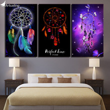 HD printed 3 piece canvas art Dreamcatcher painting dream catcher wall pictures for living room Free shipping NY-7166B