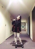 2016 New Spring And AutumnGothic Punk Black Full Shirt Black Bandage Shorts Audrey Hepburn Vintage