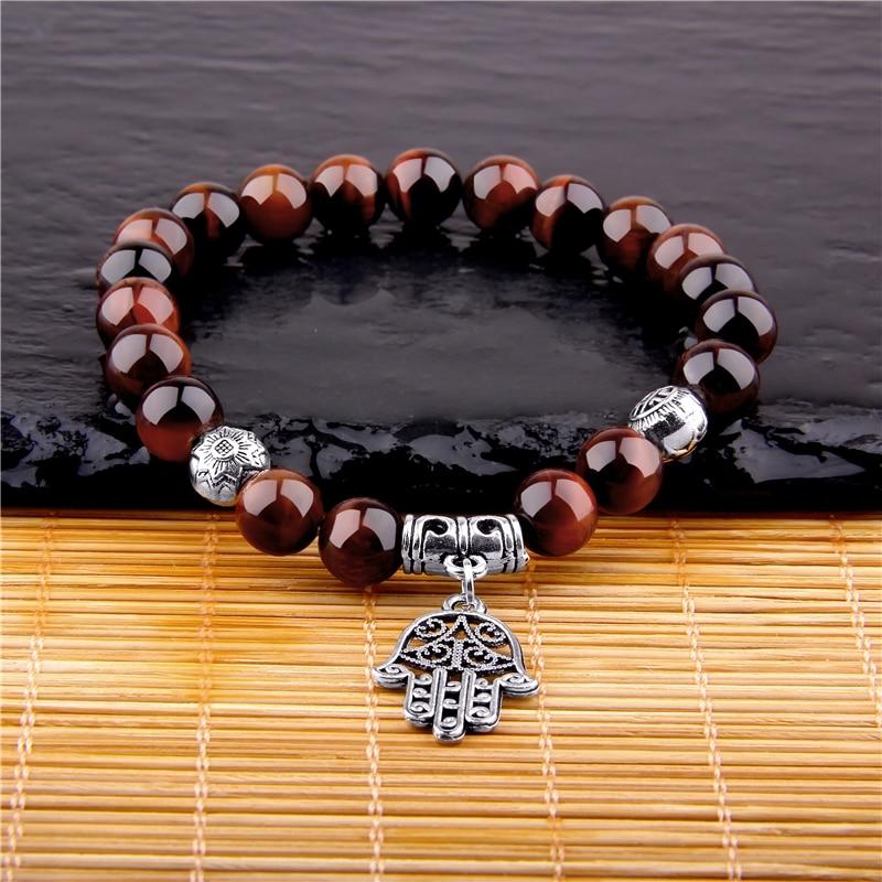 Trendy Fatima Hand Lucky Religious Eye Mens Bracelet Natural Malachite Stone Beads Bracelet Fatima Hand Bracelets Jewelry