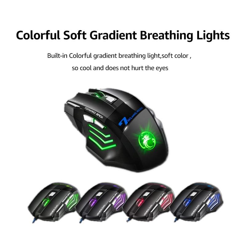 imice USB Gaming Mouse 7 gomb 5500DPI LED optikai vezetékes kábel - Számítógép-perifériák - Fénykép 4