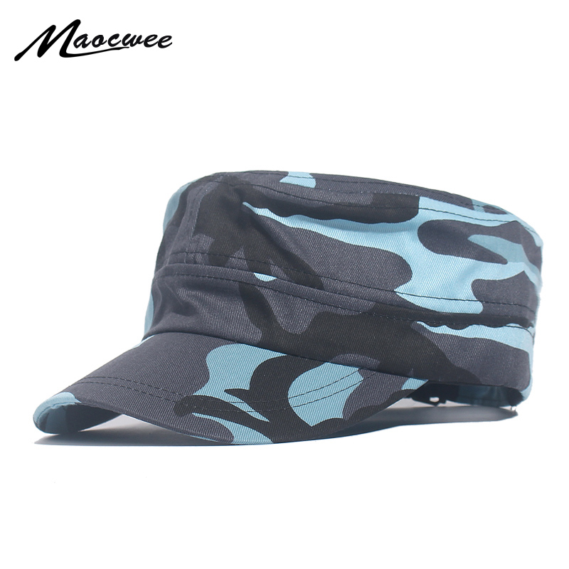 Classic Men Military Caps Men's Women's Fitted Flat Top Baseball Caps Army Camouflage Sun Hats Outdoor Sports Camping Style