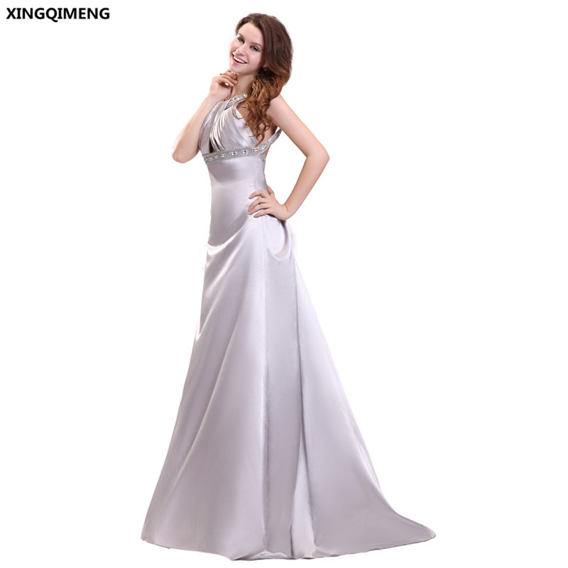 Elegant Sexy Beach Evening Dress Silver Satin Crystal Halter Backless Formal Party Evening Dresses Long Chic Women Gowns