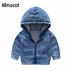 Image 4 - Kimocat New Arrival Autumn And Spring Long Sleeve Childrens Hooded Knit Denim Suit Boys Clothing Sets Toddler Tracksuit Sets