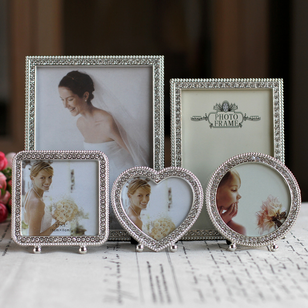 hot sale metal picture frame alloy photo frames with pearls and rhinestone decorationchina