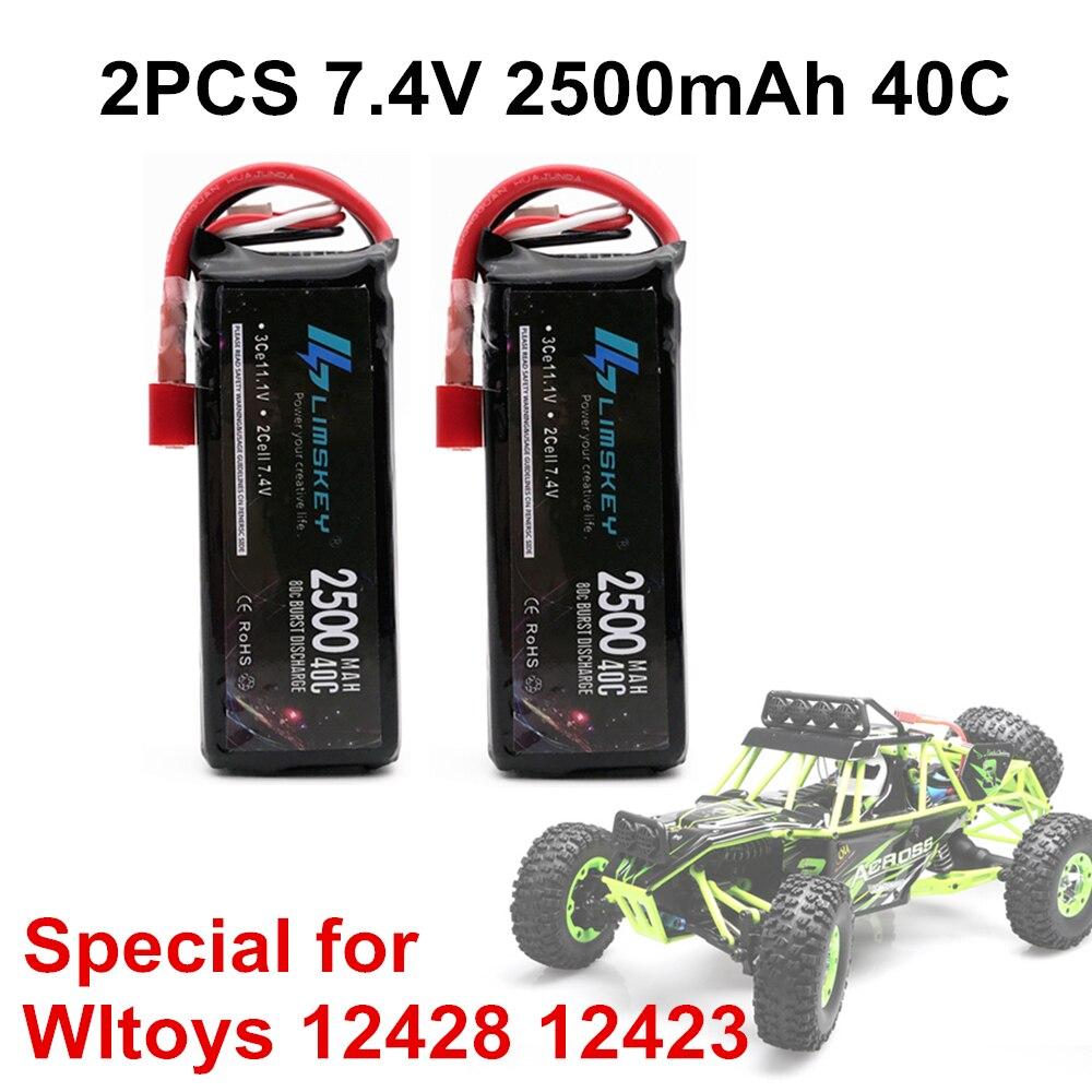 Lipo аккумулятор Limskey 2 шт. RC 2S 7,4 в 2500 мАч 40C Max 80C для Wltoys 12428 12423 1:12, запчасти для радиоуправляемых автомобилей