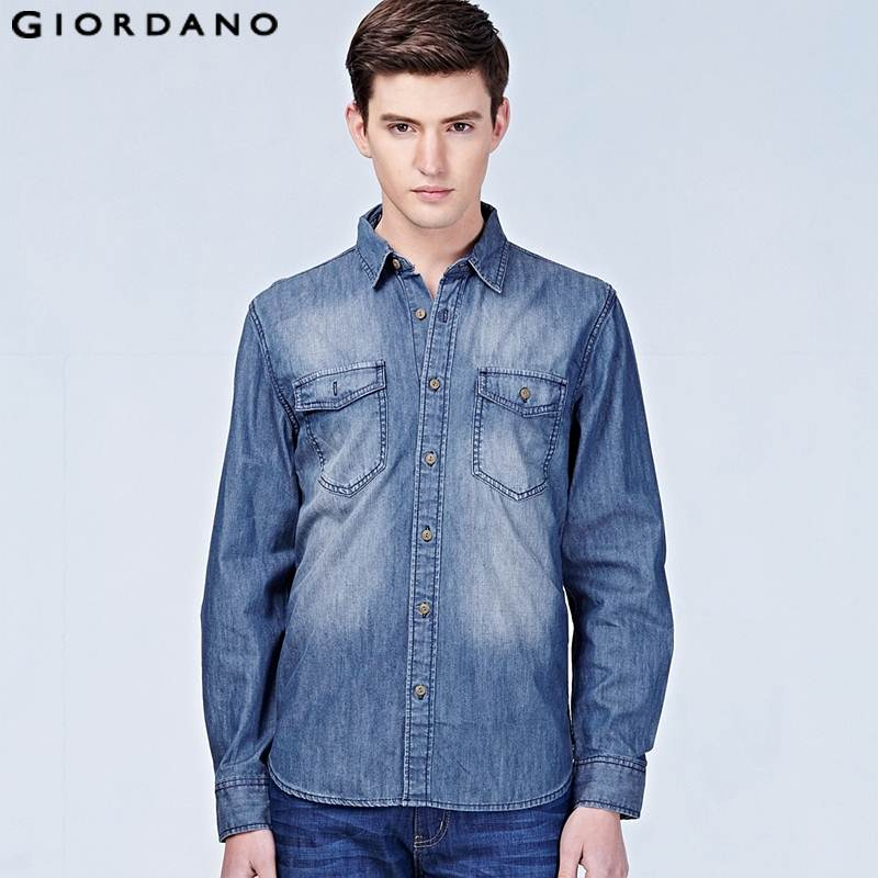 Giordano hombres 2015 marca Camisa vaquera Casual Jeans