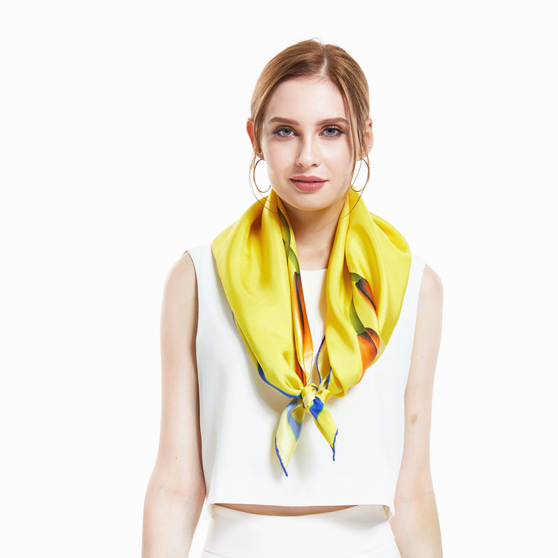 [XiuKe] scarves 2017 new fashion women scarf squares silk scarves Luxury ladies scarf yellow  tulip