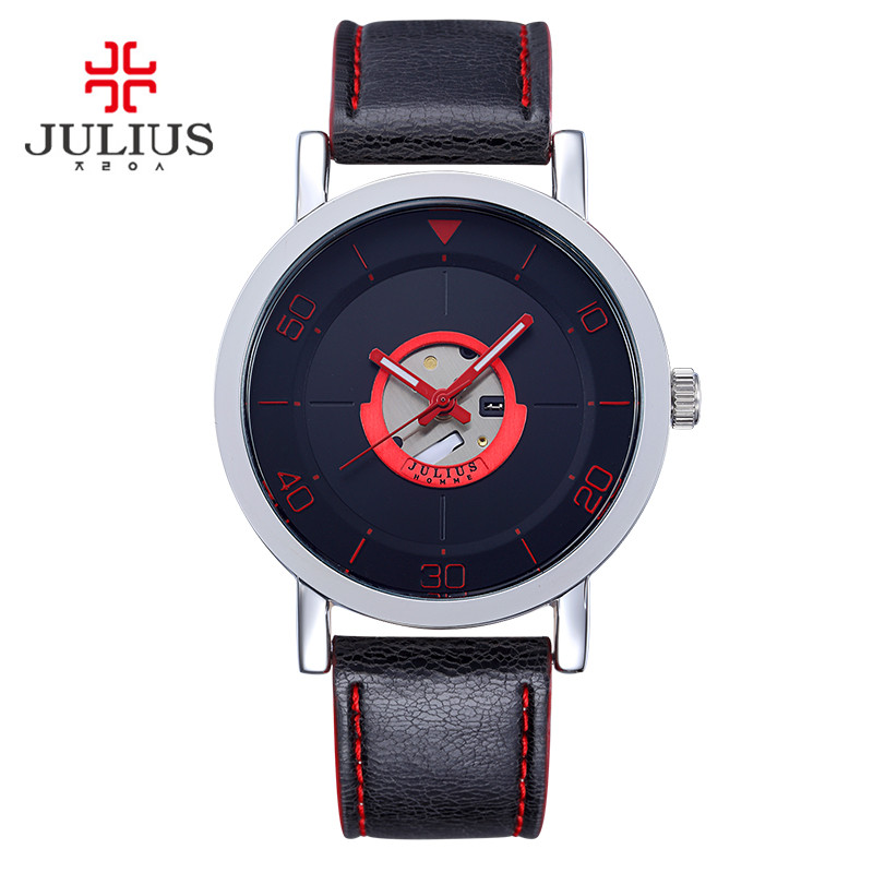 Top Julius Homme Men s Watch Japan Quartz Hours Clock Fashion Dress Leather Boy Birthday Christmas