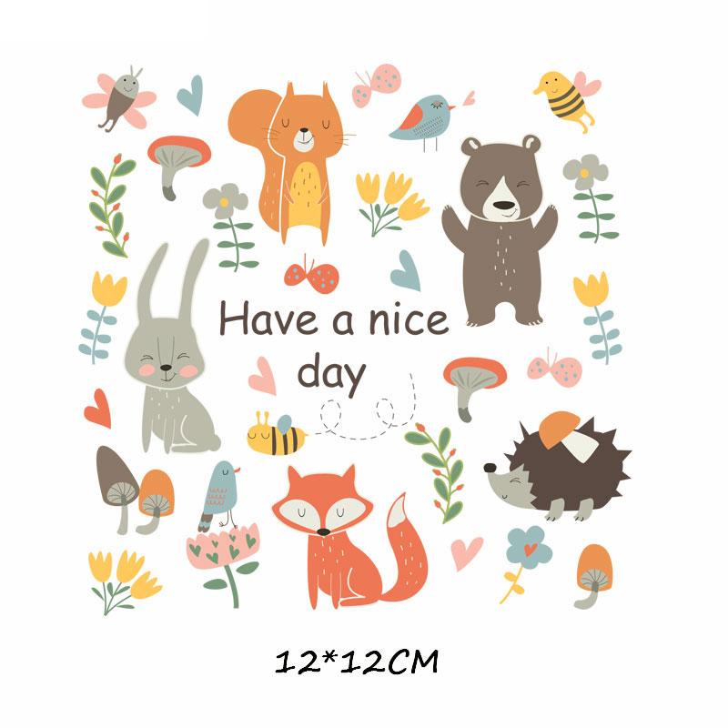 Набор патчей с изображением животных из мультфильмов, милые патчи с изображением единорога, кошки, совы, собаки, цветов для детей, одежда для девочек, футболка, сделай сам, термопресс - Цвет: 440