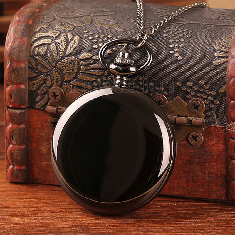 Steampunk Black Smooth Quartz Pocket Watch Fashion Casual Delicate Fob Clock Round Pendant Men Women Gift P200 With Necklace