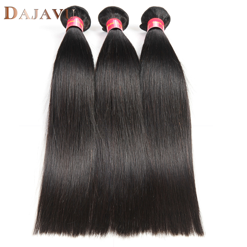 Dejavu Hair Indian Straight Hair Weave 100% Human Hair 3 Bundles Non-Remy Hair Extensions Natural Color Machine Double Weft