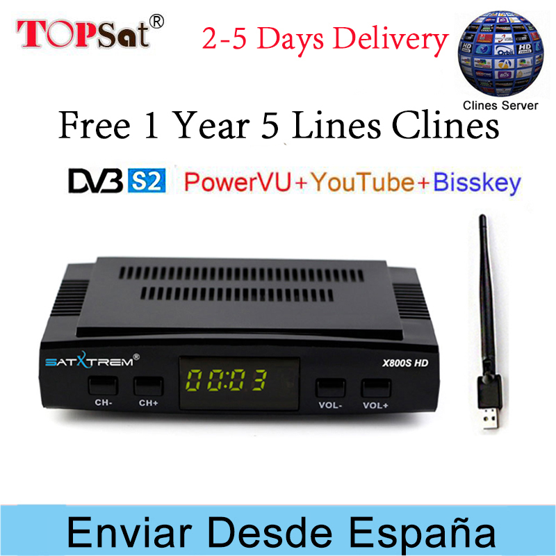 PK V7 HD Receptor Satxtrem X800S HD DVB-S2 Satellite TV Receiver with 5 Lines Clines for 1 year spain Europe USB WIFI Decoder pk v7 hd x800 hd satellite tv receiver hd dvb s2 usb wifi decoder 1 year europe 5 lines cccam digital satellite receiver