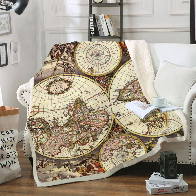 World Map Printed Velvet Plush Throw Blankets for Kids