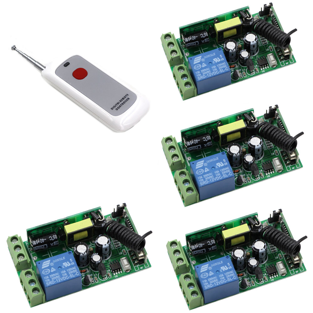AC 110V 220V 230V 250V 1CH Wireless Remote Control Lighting Switch System 4pcs Receivers +One Button Digital Remote Controller 2 receivers 60 buzzers wireless restaurant buzzer caller table call calling button waiter pager system