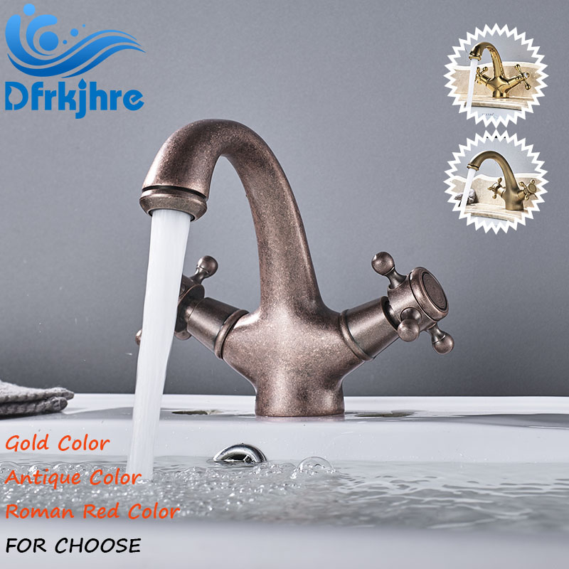 Newly Style Bathroom Basin Faucet Hot and Cold Water Mixer Valve Faucet Dual Handle Antique Gold Roman Red Color Faucets cocin antique brushed newly colorful painted basin faucets hot