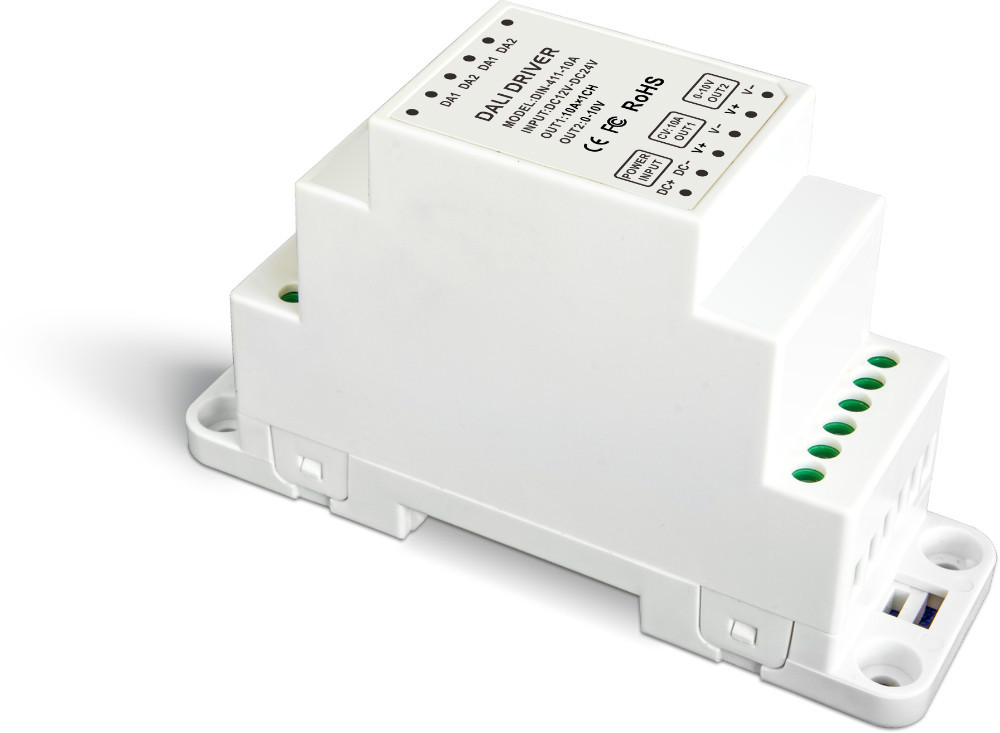 DIN-411-10A;DALI to PWM CV Dimming Driver(DIN rail/Screw dual-use);DC12-24V input;10A*1CH +0-10V *CH output lt 810 10a led constant voltage dmx pwm decoder 1ch dimming dedicated 10a 1channel output
