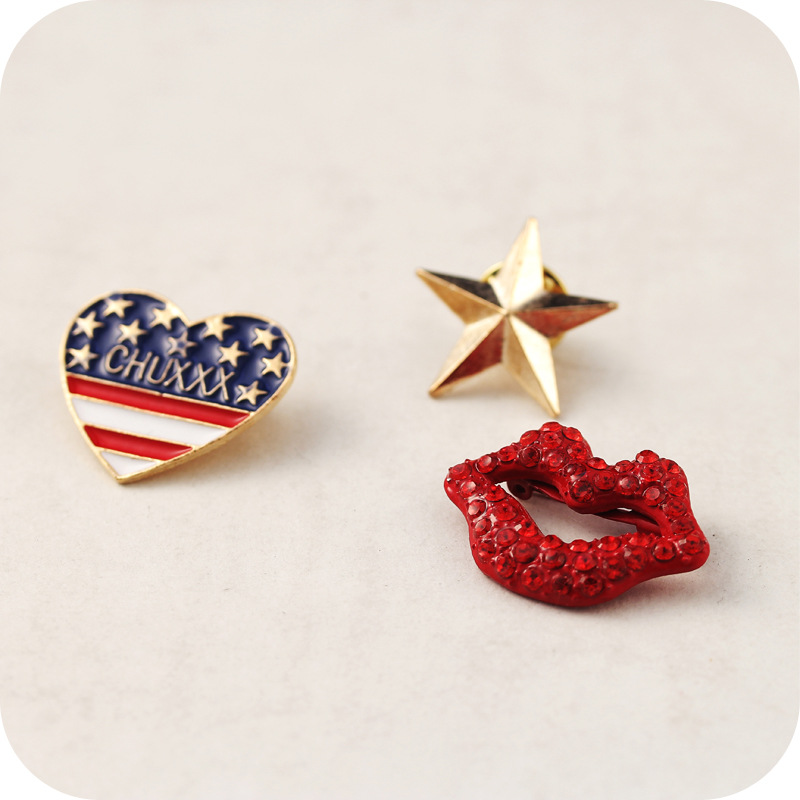 SUPIN Fashion Harajuku Rhinestone Metal Heart Cartoon Pins And Brooches Trendy Lapel Collar Safety Pin Brooch Jewelry clear