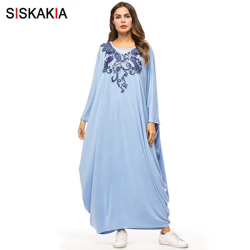 Siskakia Bat Sleeve Dressing Gowns for Women Oversized Long Sleeve Dress Casual Muslim Robes Blue Large