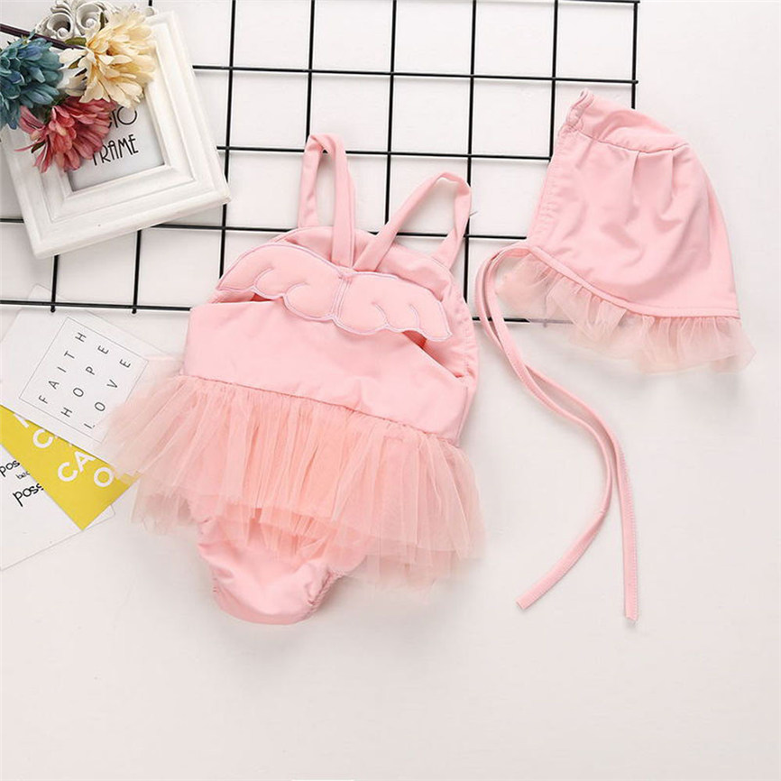2018 New Toddler Kids Baby Girls Angel Tankini Bikini Swimwear Swimsuit Bathing Suit+Hat Set For 0~18M Dropshipping 0111