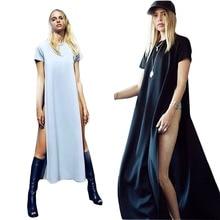 Seksi Elbise Yan Yarık Ile Hanımefendiler Için 2015 Yaz T Gömlek Elbise moda Kısa Bayanlar Casual Giyim Vestido De Festa Maxi Elbise C84