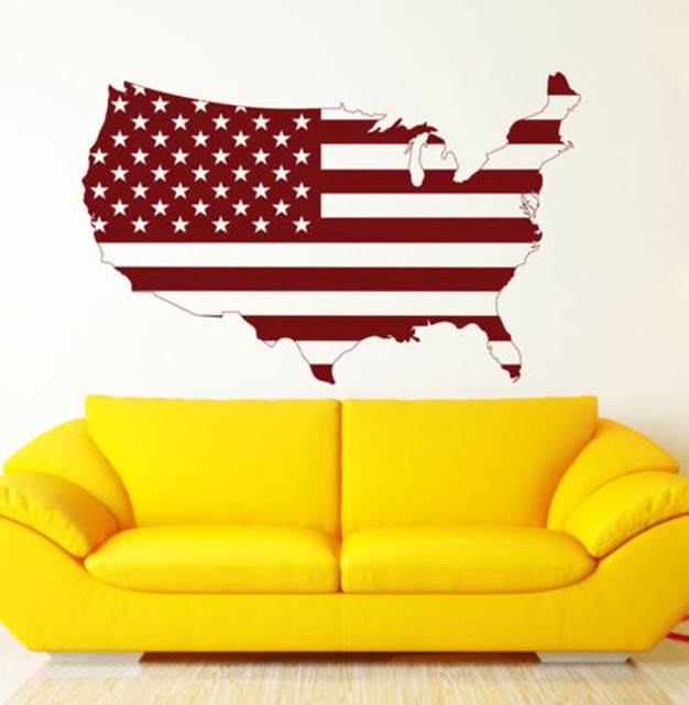 Removable Art United States USA Flag Map Wall Decal Art Decor ...