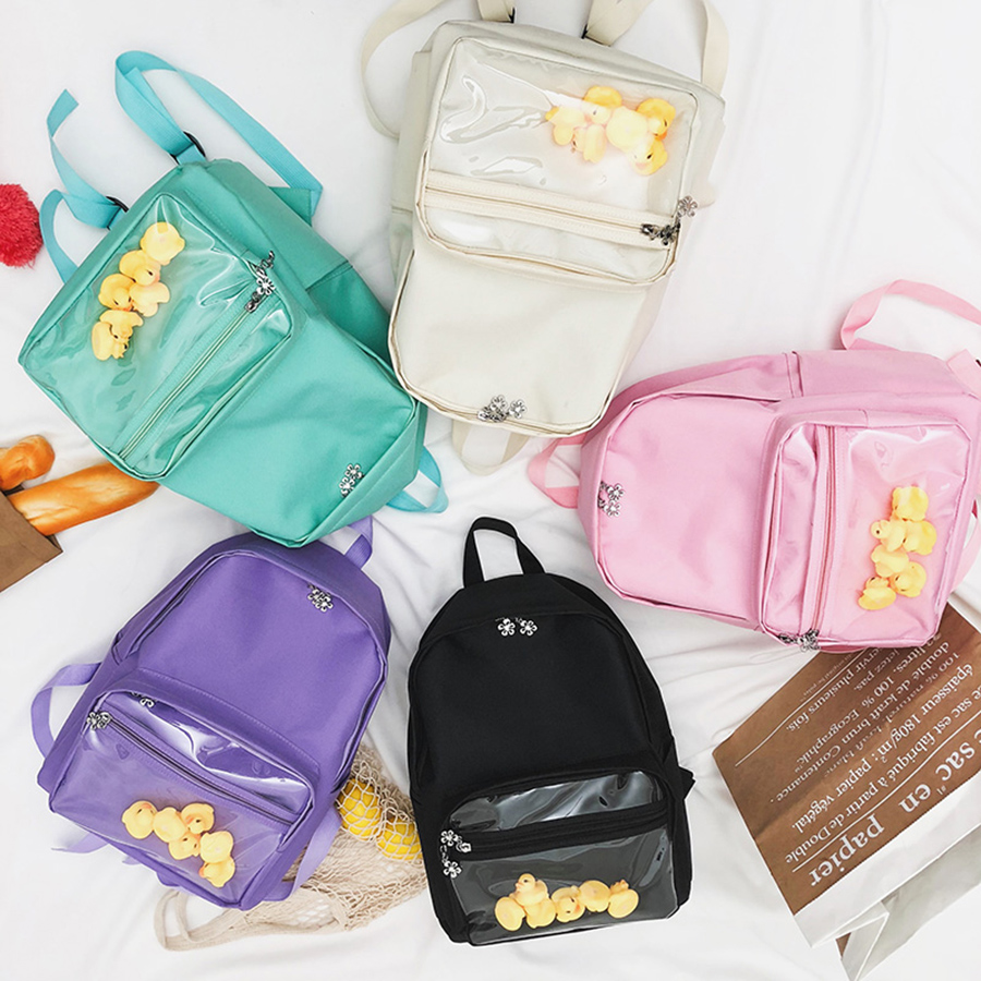 Clear Transparent Women School Bags For Girl Cute Yellow Duck Girl's Canvas Backpack Women Ita Bookbags Large Capacity Back Pack