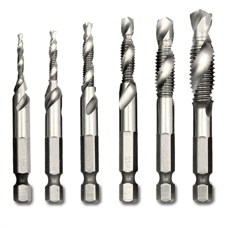 Step Drill 1/4'' Hex HSS High Speed Steel Thread Spiral Screw Drill Bits Metric Composite Tap Drill Bit Tap 6pcs/set Matkap Ucu 6pcs hss high speed steel drill bit set 1 4 inch hex shank combination drill tap bit set unc or metric deburr countersink bits