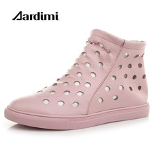 Summer ankle boots women genuine leather flats shoes fashion casual solid flat boots for women soft rubber boots pink shoes