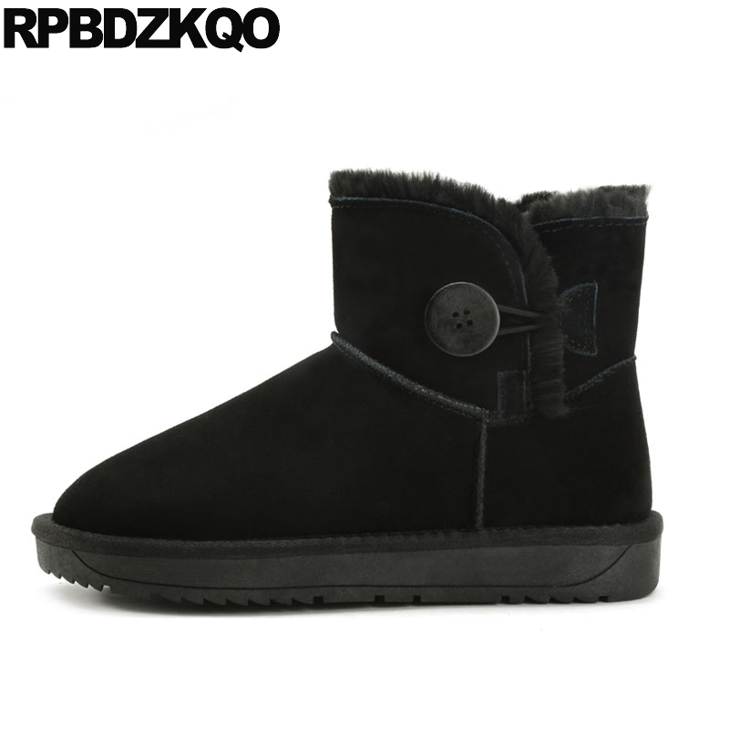 Winter Shoes Ankle Suede Warm Flat Booties Black Snow Fur Round Toe Casual Boots Women Female Ladies 2017 Short Chinese Fashion veowalk winter warm fur women short ankle boots cotton embroidered ladies casual canvas 5cm heels wedge platform booties shoes