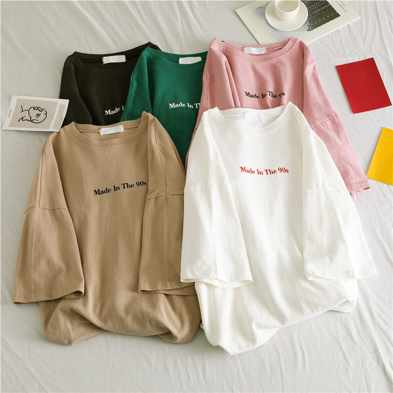 90s Women Letter Over Size Printed Loose T-Shirts Short Sleeve O-Neck White Ladies T Shirts 2019 Hip Hop Summer Lady Casual Tops