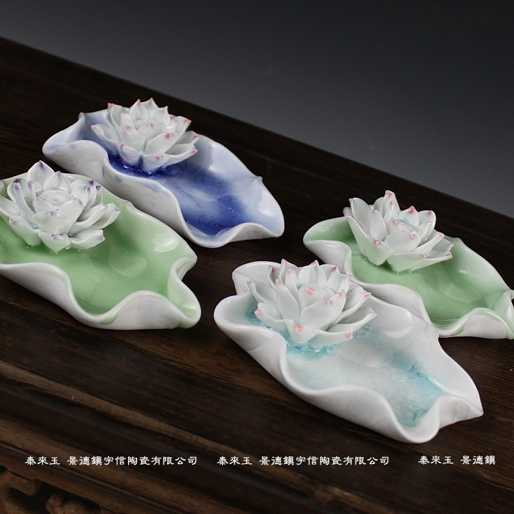 Jingdezhen ceramics ice lotus leaf lotus incense crack incense censer seat lotus vertebral disc energy saving electronic incense incense censer ceramic electric thermostat burning incense incense powder sawdust